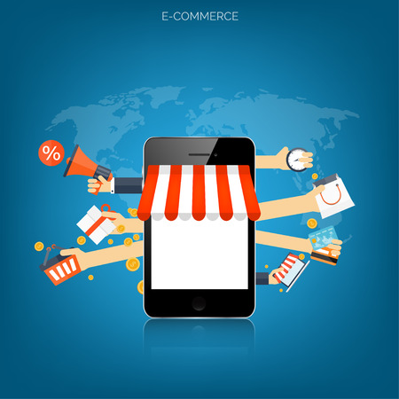 Concetto di shopping su Internet. E-commerce. Negozio online. Soldi Web e pagamenti. Pay per click.