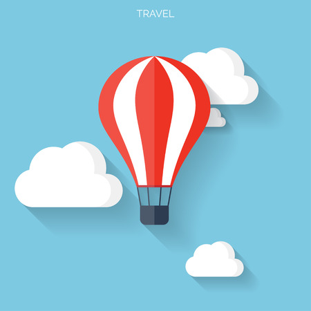 air travel: Flat air balloon with clouds web icon.