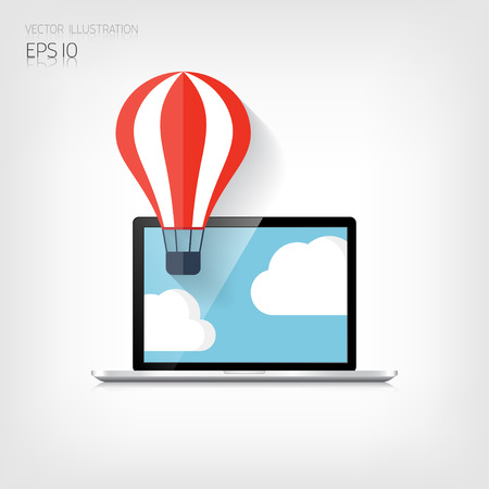 Flat air balloon web icon.Realistic detalized flat laptop Vector