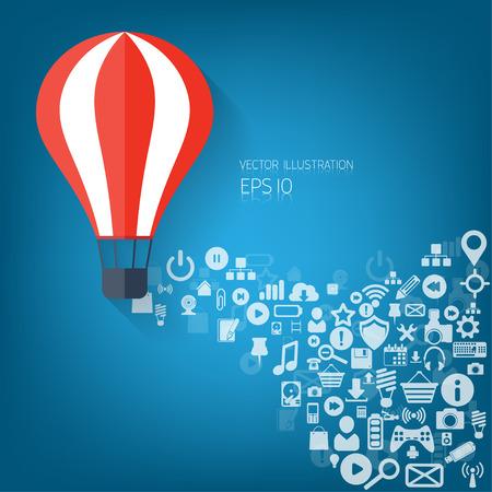 inflar: Piso web icono globo de aire. Iconos de las aplicaciones Web. Proyecto de puesta en marcha. Objetivo de negocios.