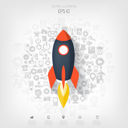 spaceship: Flat rocket icon. Startup concept. Project development.Application icons. Illustration