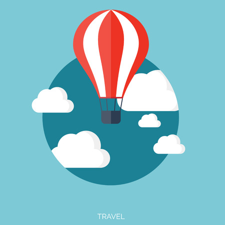 cheerfulness: Flat air balloon with clouds web icon.
