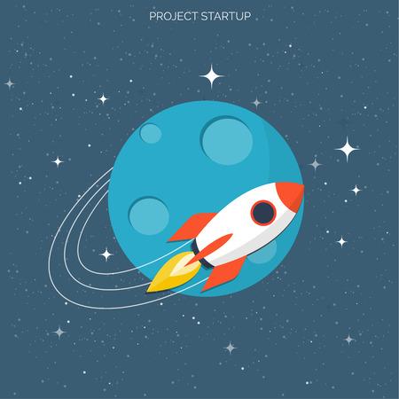 stabilizer: Flat rocket icon. Startup concept. Project development.