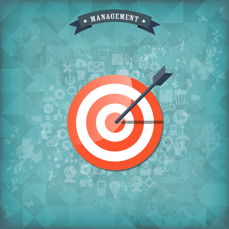 Flat target with web application icons. Management concept background. Teamwork and business aims. Old vintage background.