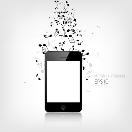Realistic detalized smartphone with music notes Vector