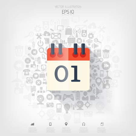 agenda: Flat calendar icon. Date and time background.Management concept with web application icons. Illustration