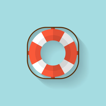 life guard: Lifebuoy flat web icon.