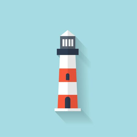 Flat lighthouse web icon Ilustracja