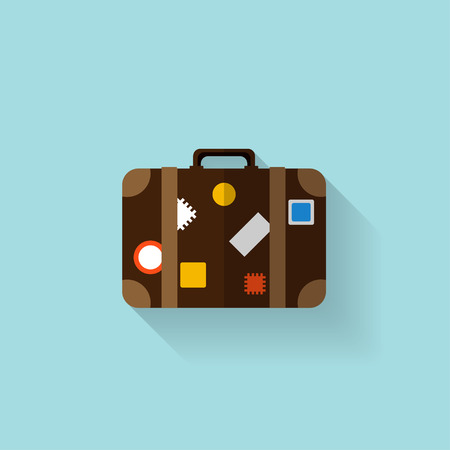 suitcase packing: Flat travel bag web icon