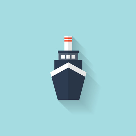 Liner ship flat web icon