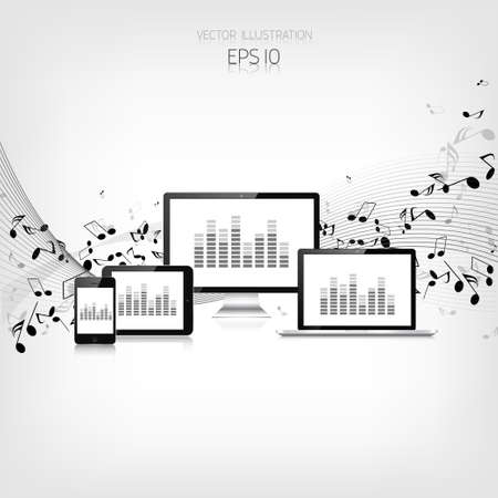 Realistic detalized tablet,laptop,smartphone and monitor with music notes Vector