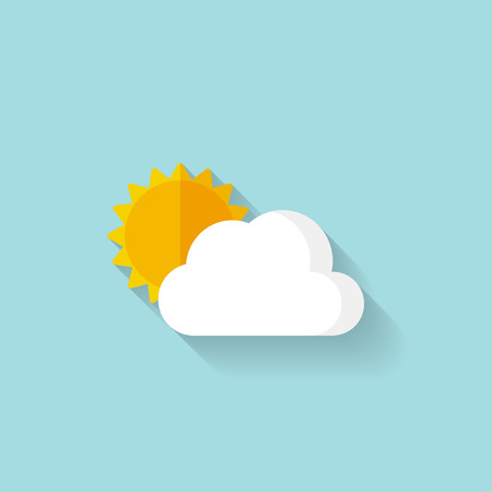 sunny sky: Flat sun and cloud weather web icon