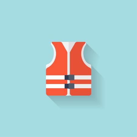Flat lifejacket web icon.Background wit application symbols. Illustration