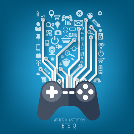 Flat joystick icon.Gaming background Vettoriali
