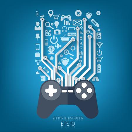 Flat joystick icon.Gaming background Illustration