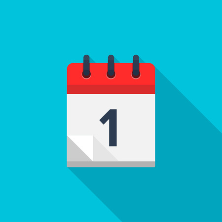 Flat calendar icon. Date and time background. Number 1