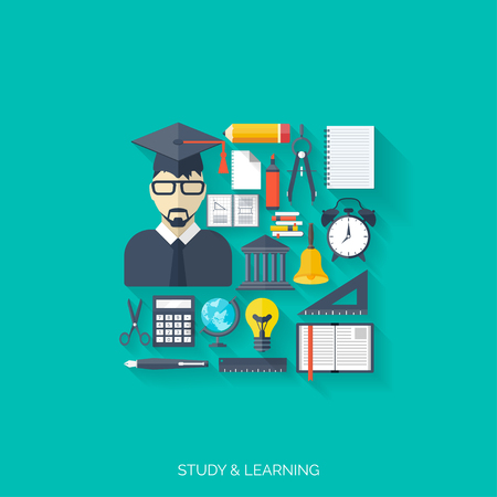 cognitive: Flat concept of education and knowledge. SymbolFlat concept education background. Back to school. Distance learning. Study in univercity. Illustration