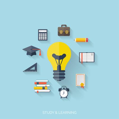 ESTUDIANDO: Concepto plano de la educación y el conocimiento. SymbolFlat fondo concepto de educación. Volver a la escuela. El aprendizaje a distancia. Estudiar en univercity.