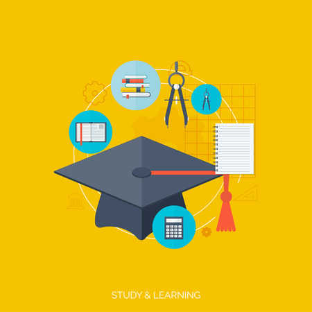Flat concept of education and knowledge. SymbolFlat concept education background. Back to school. Distance learning. Study in univercity. Illustration