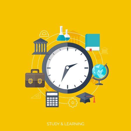 univercity: Flat concept of education and knowledge. SymbolFlat concept education background. Back to school. Distance learning. Study in univercity. Illustration
