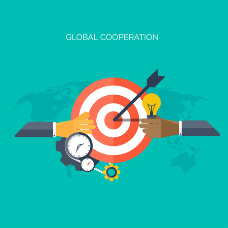 moneymaking: Flat hands. Global cooperation concept background. Business and moneymaking. Marketing and management. Teamwork and brainstorm. Illustration