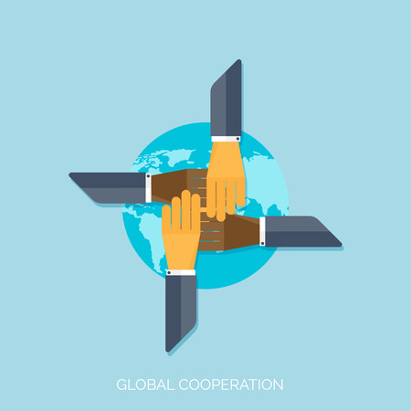 Flat hands. Global cooperation concept background. Business and moneymaking. Marketing and management. Teamwork and brainstorm. Illustration