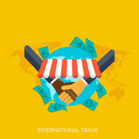 moneymaking: Flat hands. Global international trading concept background. Business and moneymaking.