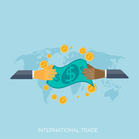 Flat hands. Global international trading concept background. Business and moneymaking.