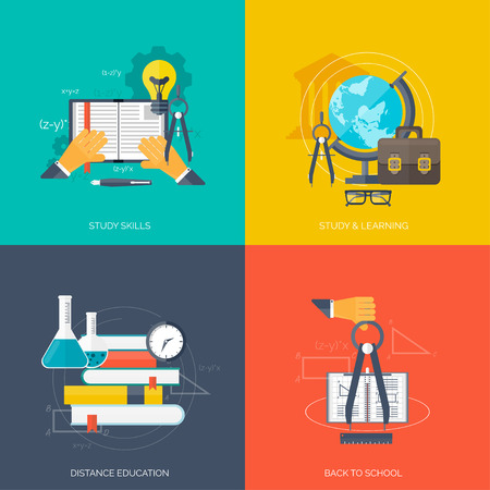 univercity: Flat concept education backgrounds set. Back to school. Distance learning. Study in univercity.