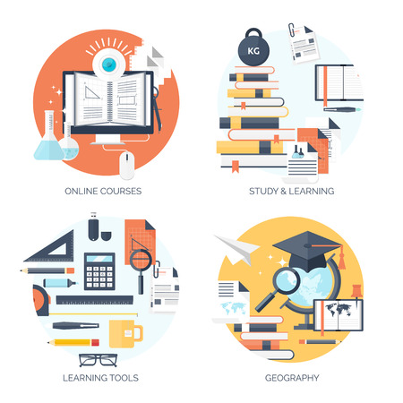creative ideas: Flat vector illustration. Study and learning concept background. Distance education and online courses, brainstorm and knowledge growth,school and university subjects.Success and smart ideas,learn process and skills up. Internet tutorials and learning too Illustration