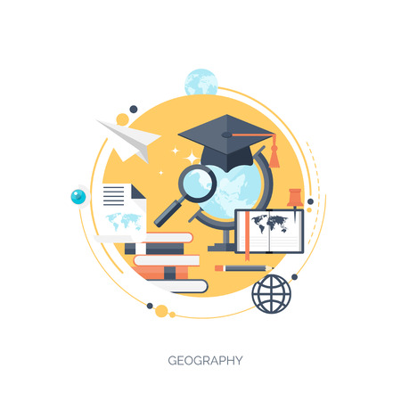 Flat vector illustration. Study and learning concept background. Distance education and online courses, brainstorm and knowledge growth,school and university subjects.Success and smart ideas,learn process and skills up. Internet tutorials and learning too Çizim