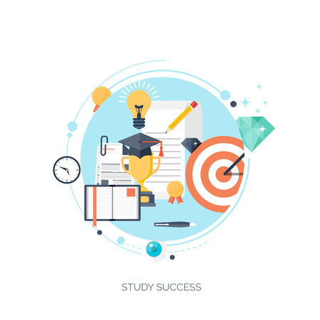 university sign: Flat vector illustration. Study and learning concept background. Distance education and online courses, brainstorm and knowledge growth,school and university subjects.Success and smart ideas,learn process and skills up. Internet tutorials and learning too Illustration