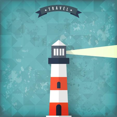 Flat lighthouse on old vintage background.