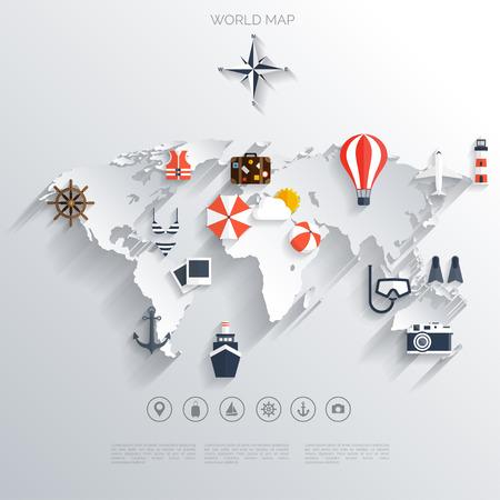 bagagli: Estratto di viaggio map.World concetto di fondo. Icone piatte. Turismo concetto image.Holidays e vacation.Sea, mare, terra, viaggio aereo. Vettoriali