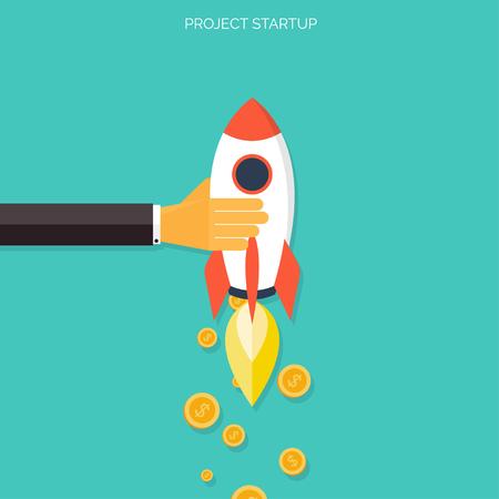 フラット ロケットのアイコン。スタートアップのコンセプトです。プロジェクトの開発。