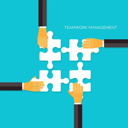 briefing: Flat background with hands and puzzles. Teamwork management concept.Business, analyzing organization.