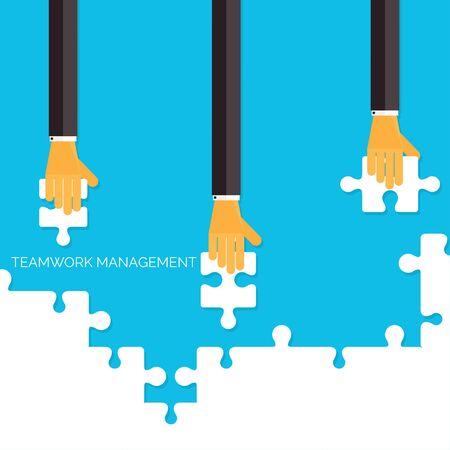 herramientas de trabajo: Fondo plano con las manos y los rompecabezas. Trabajo en equipo concept.Business gesti�n, analizando organizaci�n. Vectores