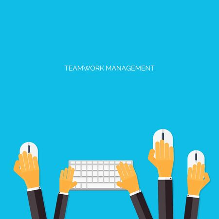 briefing: Teamwork management concept. Flat icons. Global communication and working experience. Business, briefing organization. Money making and analyzing.