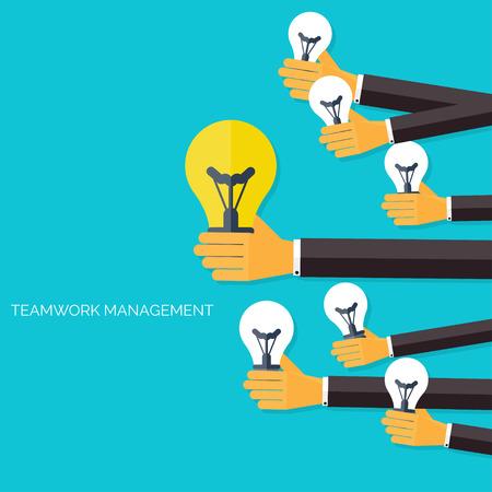 document management: Encontrar la idea principal. Concepto de gestión del trabajo en equipo. Iconos planos. La comunicación global y experiencia de trabajo. Negocios, organización informativa. Ganar dinero y analizar.