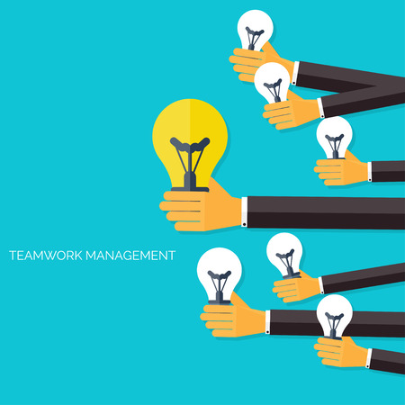 information management: Finding the main idea. Teamwork management concept. Flat icons. Global communication and working experience. Business, briefing organization. Money making and analyzing.