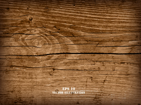 Realistic highly detalized wood background. Old wooden plank. Ilustração
