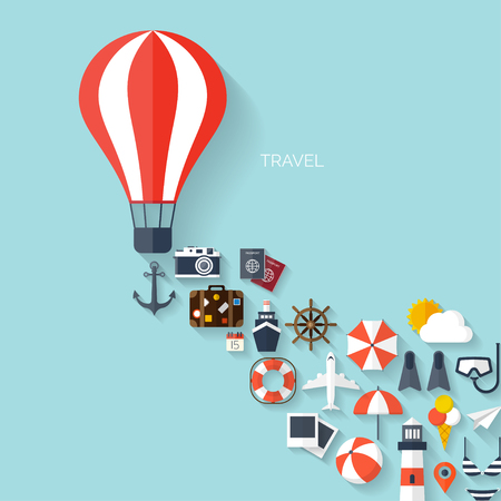 Mundial concepto de viaje de fondo. Iconos planos. Image.Holidays concepto de turismo y vacation.Sea, océano, tierra, viaje aéreo.