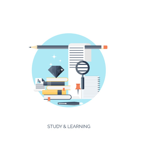 Flat vector illustration. Study and learning concept background. Distance education, brainstorm and knowledge growth,school and university subjects.Success and smart ideas, skills up. Stock Vector - 38064568
