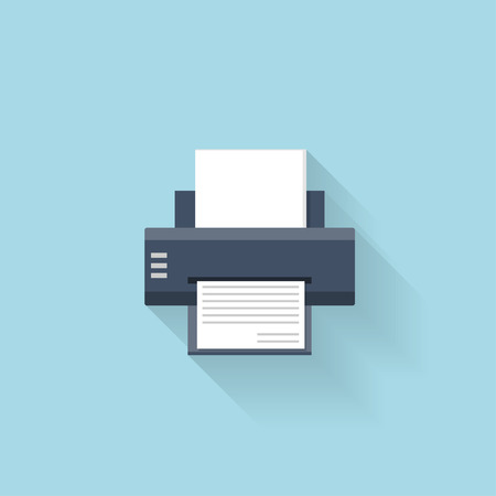multifunction printer: Flat printer web internet icon Illustration