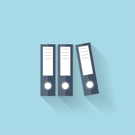 Flat web icon. Documents paper folder. Vector