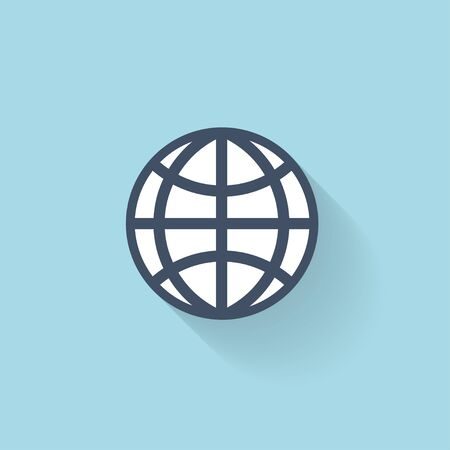 Flat web icon. Global network. Vector