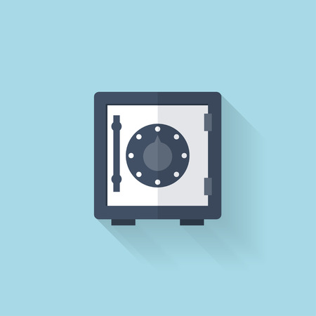 Flat web icon. Safe bank deposit. Illustration
