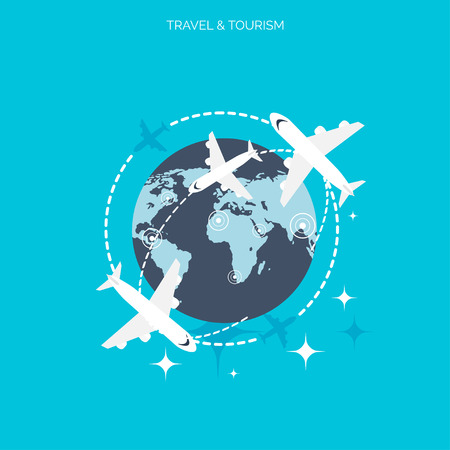 World travel concept background.  Flat icons. Tourism concept image.Holidays and vacation.Sea, ocean, land, air travelling. Illustration