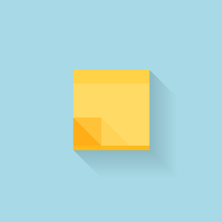 note: Flat web internet icon. Yellow sticky notes paper.