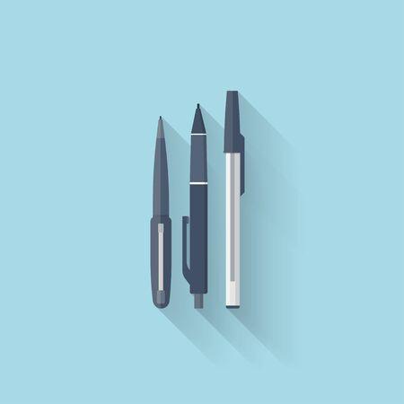 Flat web internet icon. Pen set. Vector